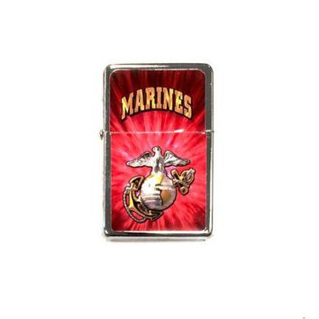 Marines Pocket Lighter Flip-Top Metal Chrome United States Military Marine Corp