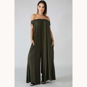 On The Go Jumpsuit-Olive