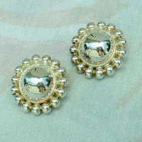 Premier Designs Large Button Dome Clip On Earrings
