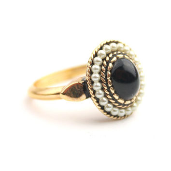 Black Cabochon Seed Pearl Ring - Vintage AVON
