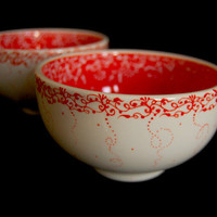 Ruby Red Soup/Cereal Bowl Set of 2