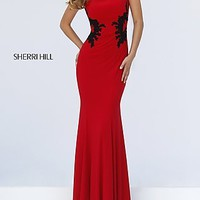 High Neck Embroidered Accents Formal Gown by Sherri Hill