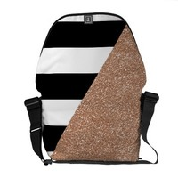Rose Gold Monochrome Messenger Bag Outside Print
