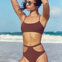 Po Swim Becca Cheekier Bikini Bottom, Brown