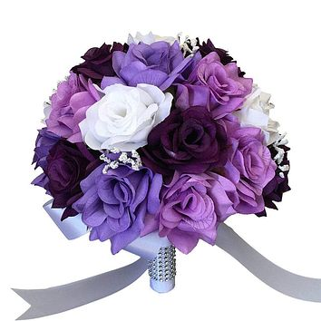 Bridal Bouquet- White, Purple, Lavender, Lilac Silk Roses with Baby Breath