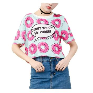 Donut Touch My Phone! Cool Ladies All Over Print T-shirt