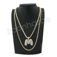 "ICED OUT M INITIAL BUBBLE PENDANT W/ 24"" MIAMI CUBAN/18"" TENNIS CHAIN NECKLACE"