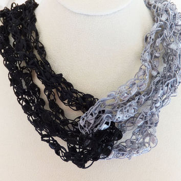 "Shimmering Unique  Black and Pewter Trellis Ribbon Ladder Yarn Necklace adjustable 15""-22"""