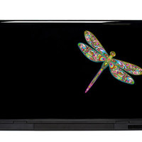 Dragonfly Vinyl Laptop or Automotive Art FREE SHIPPING decal laptop notebook art sticker ornate detailed colorful flying insect psychedelic
