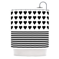 """Project M """"Heart Stripes Black and White"""" Monochrome Lines Shower Curtain"""