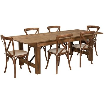 HERCULES Series 8' x 40'' Folding Farm Table Set with 6 Cross Back Chairs and Cushions