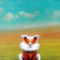 "Fox print , Children's Art , Cute Fox , Nursery Art , 8""x10"" Art Print"