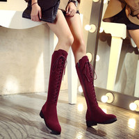 Buy Pretty in Boots Genuine Leather Lace Up Tall Boots | YesStyle