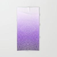 Ombre purple and white swirls zentangle Hand & Bath Towel by Savousepate