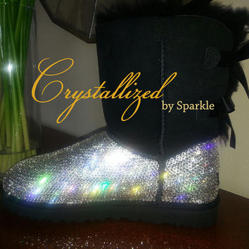 Gorgeous Swarovski Crystal Bling Women's Bailey Bow UGG Boots TALL