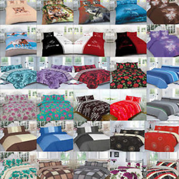 Duvet Cover sets with Pillow Case All Sizes Single Double King Super King