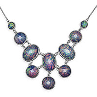 17in x 3in Iridescent Silver Tone Fashion Necklace