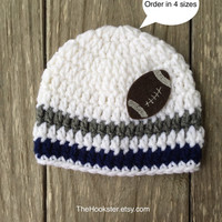 Crochet Blue, Grey/Silver and White Baby Beanie, Dallas Cowboys Beanie, NFL, 0-24 months, Team Colors, Newborn Beanie, Cowboys Baby Fan Gear
