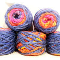 Colorful Bulky Knitting Yarn Wool Blended Chunky Yarn 5 x 50 gr. Skeins