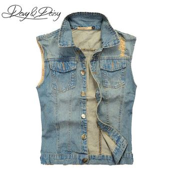 DAVYDAISY Jeans Vest Men Sleeveless Jacket Washed Light Blue Hip Hop Vintage Ripped Cowboy Men Casual Denim Waistcoat DCT-076