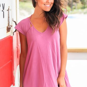 Mauve Top with Cut Outs