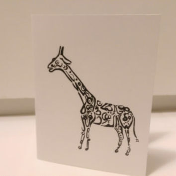 Giraffe Card Arabic Calligraphy Original any occasion set (blank inside, folded card)