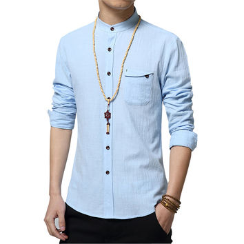 Men's Shirt Fashion Cotton Linen Long Sleeve Slim Shirt