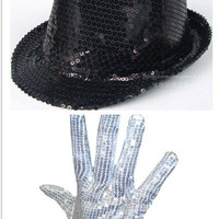 Men Women Michael Jackson Silver Sequin Glove +Capone Party Trilby Dance Adults Performance Party Props Hat Set