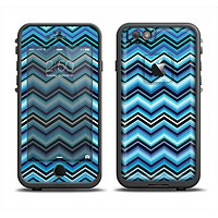 The Navy Blue Thin Lined Chevron Pattern V2 Skin Set for the Apple iPhone 6 LifeProof Fre Case