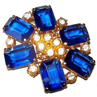 "Art Deco Blue Brooch Signed NEGW Chalice Sapphire Rhinestones Gold Metal 2.5"" Vintage"