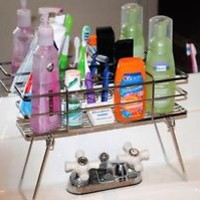 COSMETIC & TOILETRY BATHROOM WIRE ORGANIZER CADDY RACK ON STAND, SPACE SAVER!