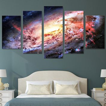 5 piece wall art canvas painting HD Print universe space galaxy stars home decoration poster picture panel paintings