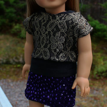 3 piece set! black tank top, gold  lace off the shoulder tee and purple sparkle mini skirt 18 inch doll clothes