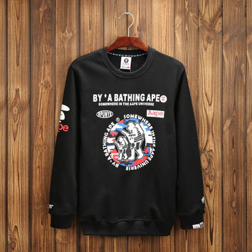 Print Pullover Cotton Hoodies [9282215687]