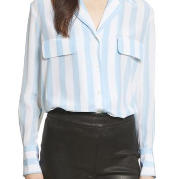 FRAME Stripe Pocket Silk Blouse | Nordstrom