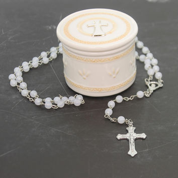 Religious TRINKET BOX WITH ROSARY BEADS Ceramic Religious N00119