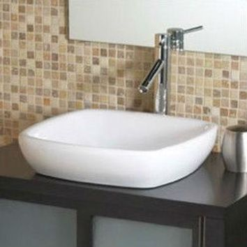 Modern Classic Style Semi- Recessed Square White Ceramic Vessel Bathroom Sink