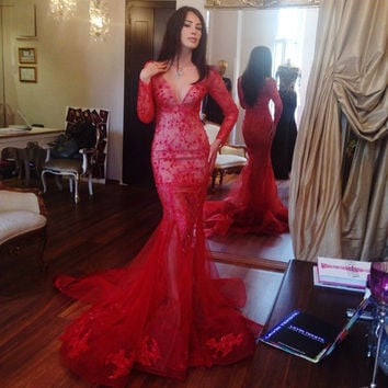 New Arrival Sexy V Neck Long Sleeve Prom Gowns Red Lace Mermaid Red Prom Dress 2016 F01208