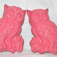 Owl Wall hangings vintage upcycled hot pink chalk paint distressed pair of 2 modern home decor valentines decor