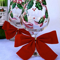 Holiday Glasses With Holly and Ribbon