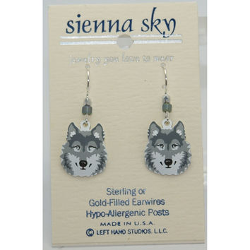 Sienna Sky Gray Wolf Face Earrings