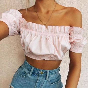 Hot Comfortable Beach Sexy Summer Stylish Bralette Spaghetti Strap Bra Hot Sale Winter Women's Fashion Short Sleeve Vest [510285873206]
