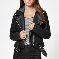 Members Only Hooded Faux Leather Moto Jacket at PacSun.com