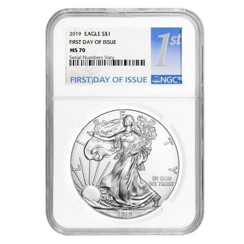 2019 1 oz Silver American Eagle MS-70 NGC (First Day of Issue)