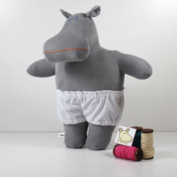 Grey stuffed animal - Hippo cuddly toy - Grey plush doll - Soft doll with white underpants - Hippopotamus toy for girls and boys