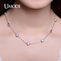UMODE Chic Simple 0.66ct CZ Crystal White Gold Color Choker Necklaces for Women Jewelry Accessories Collier Femme UN0228B