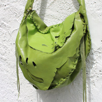 Butterfly wing bag Hippie fairy elvish larp green leather bag  bohemian raw edges rustic leather gypsy free spirit people handmade