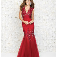 Madison James 15-147 Red Tulle & Lace V-Neck Mermaid Gown Prom 2015