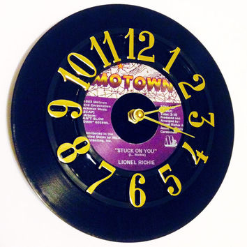 Clock, Record Clock, Vinyl Record Clock, Wall Clock, Lionel Richie Record, Recycled Record, Upcycle, Battery & Wall Hanger included, #62