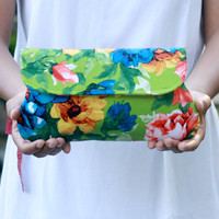 Green clutch summer bright floral, limited edition, bridesmaid clutch